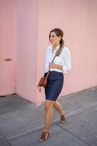 gal meets glam blogger bag fringe shoes denim skirt white shirt brown leather bag