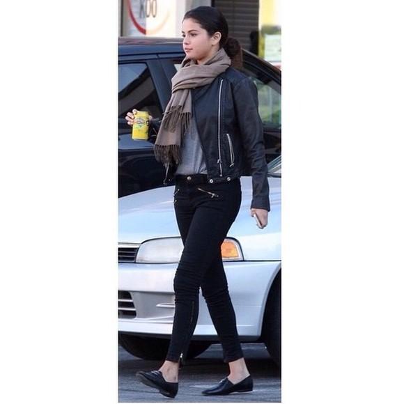 pants selenagomez leather jacket
