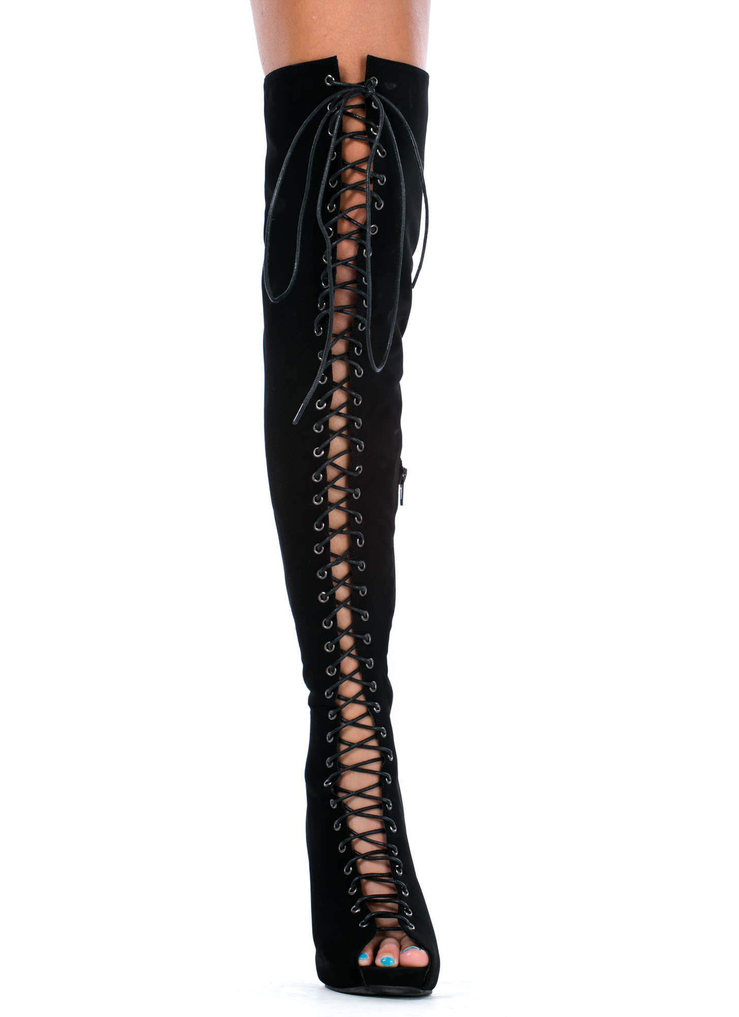 lace it up thigh high boots black gojane