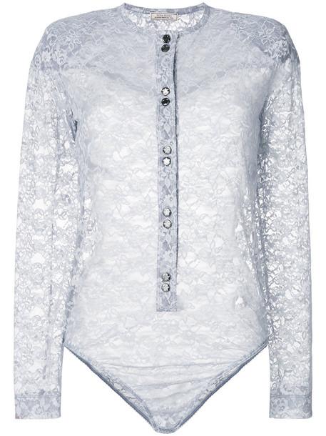 NINA RICCI top lace top sheer women spandex lace grey