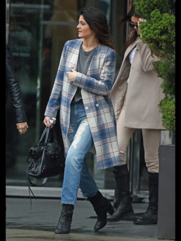 jacket plaid jacket jeans coat kylie jenner plaid colorful long coat pattern
