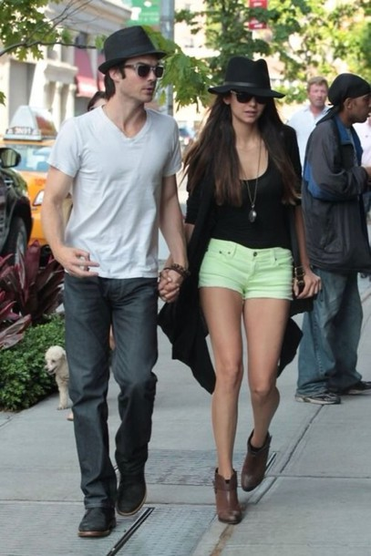 Shorts: lime, nina dobrev, casual, black cardigan, long cardigan ...