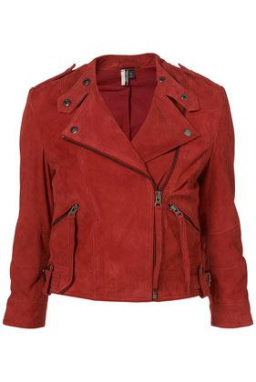Premium Red Suede Strap Biker Jacket - Jackets & Coats  - Clothing  - Topshop