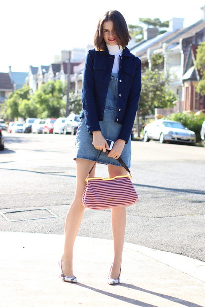 by chill blogger jacket denim dress stilettos