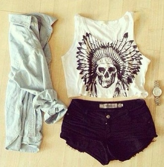 t-shirt tank top shorts skull indie shirt