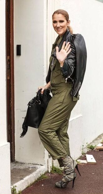 jumpsuit celebrity style celebrity singer army green  jumpsuit boots high heels boots grey boots jacket black leather jacket leather jacket black jacket bag black bag handbag