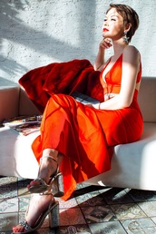 gvozdishe,blogger,dress,coat,shoes,jewels,red dress,maxi dress,sandals,red coat