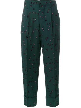 cropped print green pants