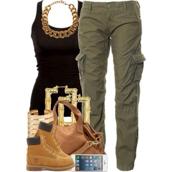 jeans jewels bag tank top shoes