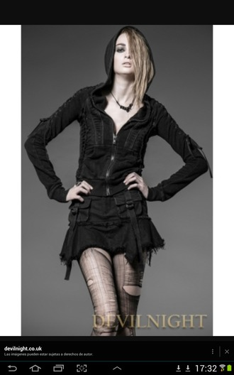 jacket black jacket gothic punk black skirt black leggings
