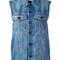 Alexander wang - sleeveless denim jacket - women - cotton - xs, blue, cotton