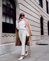 sweater,high neck,knitwear,white pants,mules,handbag,mini bag,coat,long coat,wool coat,sunglasses
