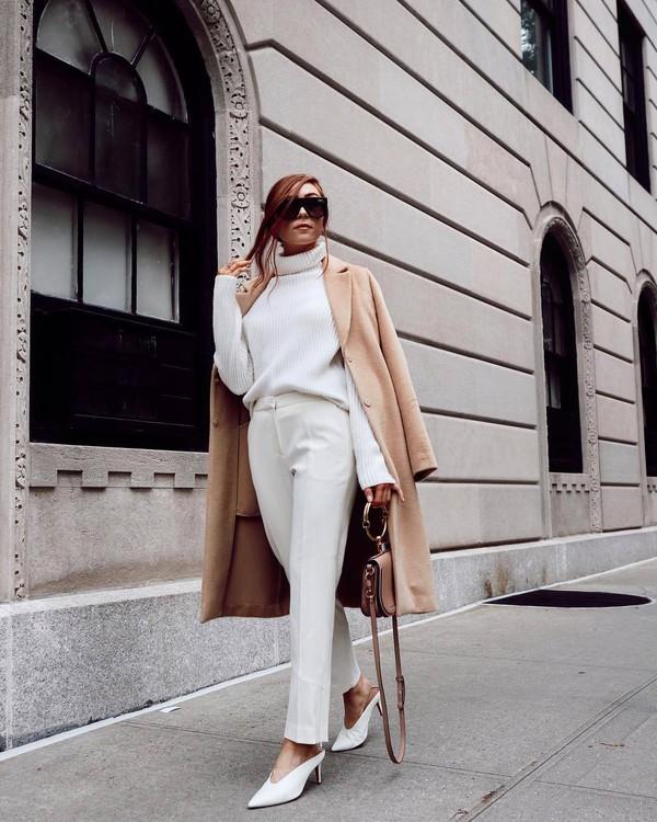 sweater high neck knitwear white pants mules handbag mini bag coat long coat wool coat sunglasses