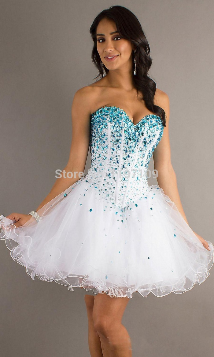 Shipping White And Teal Crystal Beaded Top Organza Short Prom ...