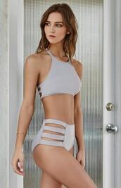 swimwear,high waisted,dope swimwear,grey,purple,two-piece,high neck