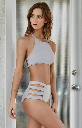 swimwear high waisted dope swimwear grey purple two-piece high neck