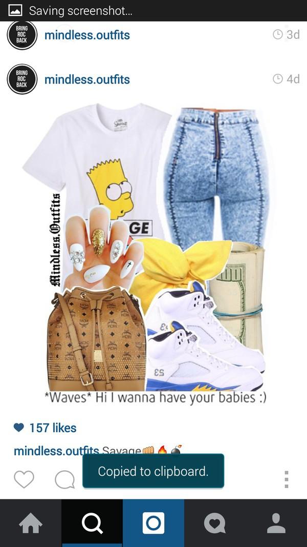 shirt simpson t-shirt skinny pants nail polish nail accessories women tshirts instagram tumblr outfit tumblr top trendy trendy jordan's shoes