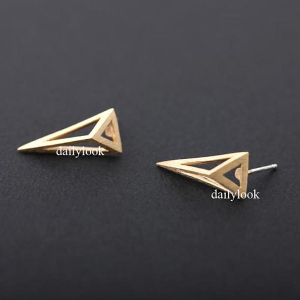 jewels jewelry earrings studs pyramid earrings pyramid studs unique earrings man studs man earrings triangle studs triangle earrings