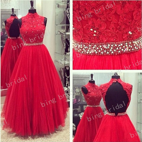 wedding dress clothes: wedding red tulle
