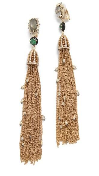 tassel earrings gold green jewels