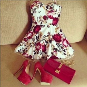 flowers white dress white red dress red gold floral dress high heels wine burgundy platform heels shoes cute