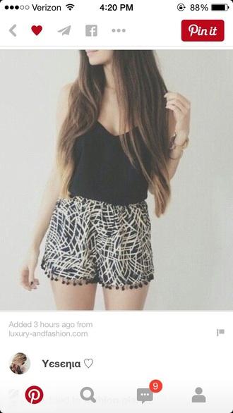 shorts top black and white pom pom shorts
