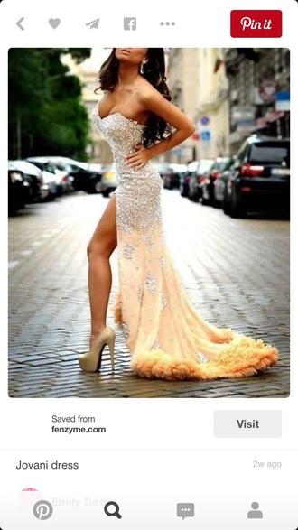 dress champagne colored jovani i