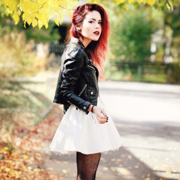 Pants Skirt Tights Rock Rockabilly Leather Jacket Blouse Red Hair Lipstick Nail Polish