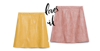 carolines mode blogger skirt pink skirt dusty pink yellow skirt mustard leather skirt