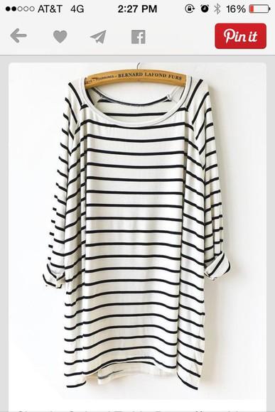 stripes loose fitting dress