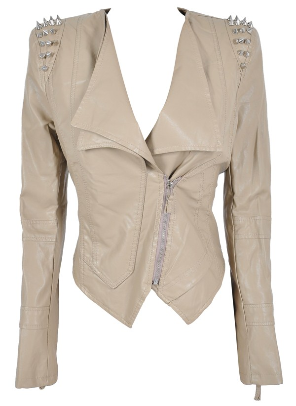Clothing : Jackets : 'Kayley' Beige Studded Leatherette Jacket