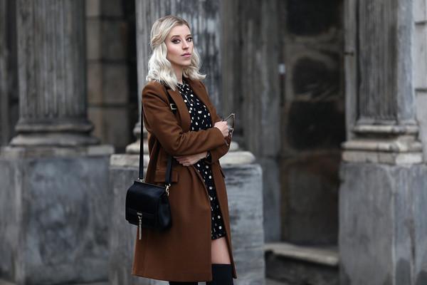 meri wild blogger coat dress bag shoes jewels brown coat shoulder bag mini dress thigh high boots