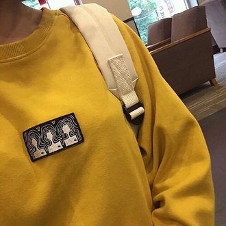 sweater yellow indie bag indie indie sweater tumblr sweat crewneck aesthetic comfy old school sweater weather tumblr outfit tumblr girl tumblr clothes tumblr shirt tumblr sweater grunge grunge wishlist grunge top grunge sweater mustard long sleeves