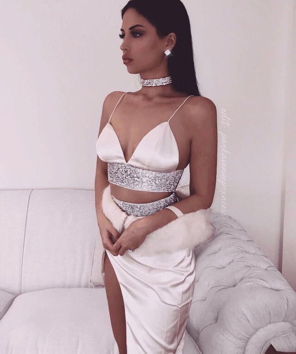 791745dddb Ilona Triangle Satin Diamonte Bralette - Blush