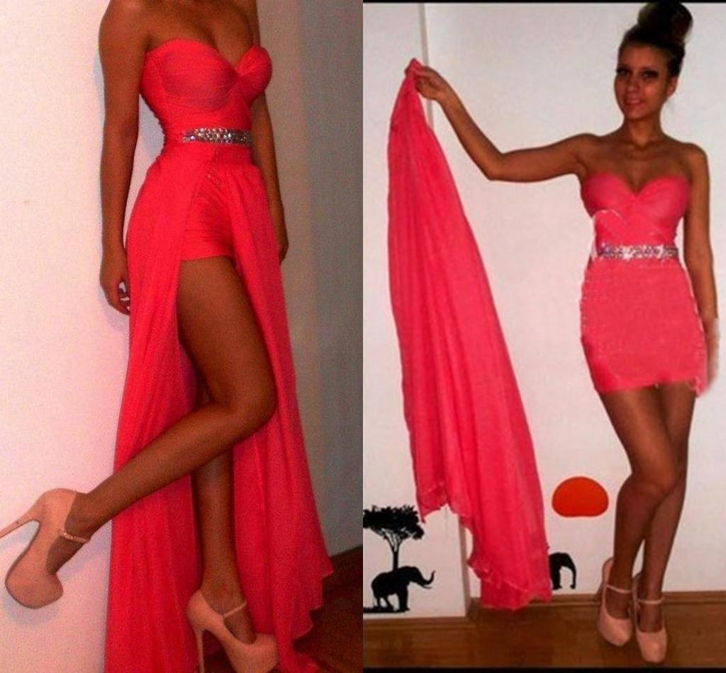 Dresses Two Piece ! Detachable Skirt Prom Dresses Long Red Evening ...