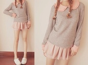 jeans,sunglasses,skirt,sweater,shirt,cardigan,pink,grey,cute,korean fashion,style,long sleeves