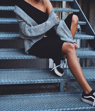 shoes tumblr sneakers black sneakers low top sneakers vans vans outfits dress black dress black midi dress midi dress one shoulder cardigan grey cardigan casual