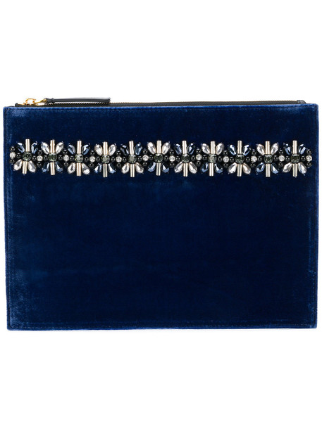 MARNI metal women plastic embellished clutch leather blue velvet bag