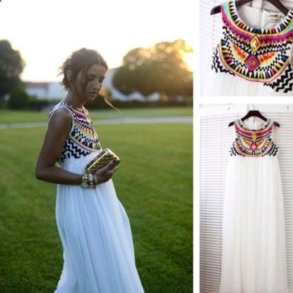 maxi dress white dress tribal pattern aztec dress tribal pattern summer outfits