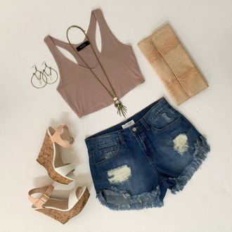 angl top outfit ootd fashion boho clutch snake print nude tan crop tops hot pants summer summer outfits crystal quartz love denim shorts distressed denim shorts wedges