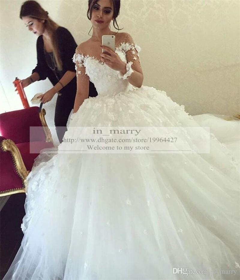 Luxury 3d flowers ball gown wedding dresses long sleeves for Beautiful puffy wedding dresses