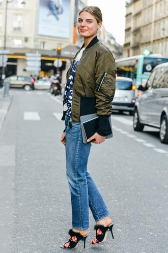 jacket green bomber jacket boyfriend jeans blogger black floral heels