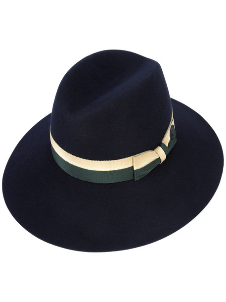 bow hat fedora blue