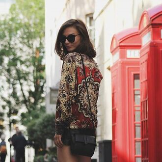 sweater fusion clothing carpet print printed sweater glasses girl girly red boot exclusive style bag jumper red brunnette fashion fashion blogger street streetwear streetstyle shades