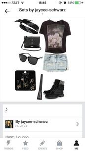 shirt,graphic tee,black,edgy,denim,combat boots,bandana,floral,eyeliner,beautiful,fashion,bag,jewels,shoes