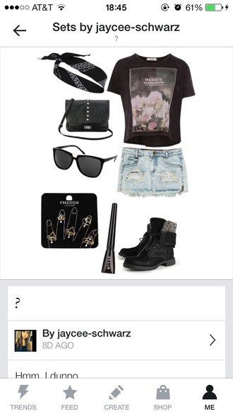 shirt graphic tee black edgy denim combat boots bandana floral eyeliner beautiful fashion bag jewels shoes