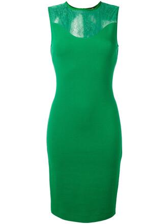 dress sheer women spandex green
