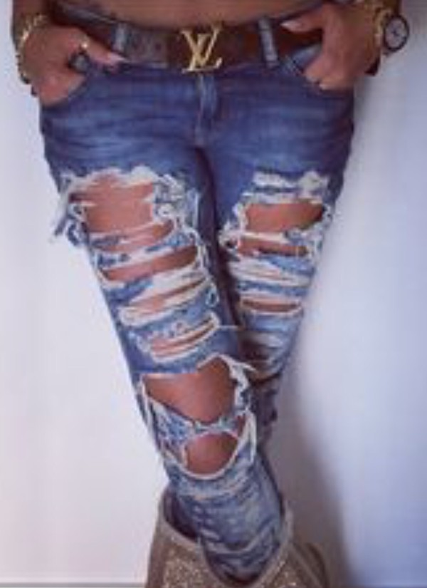 Liquor &amp Poker Skinny Jeans With Extreme Distressing Ripped Knees