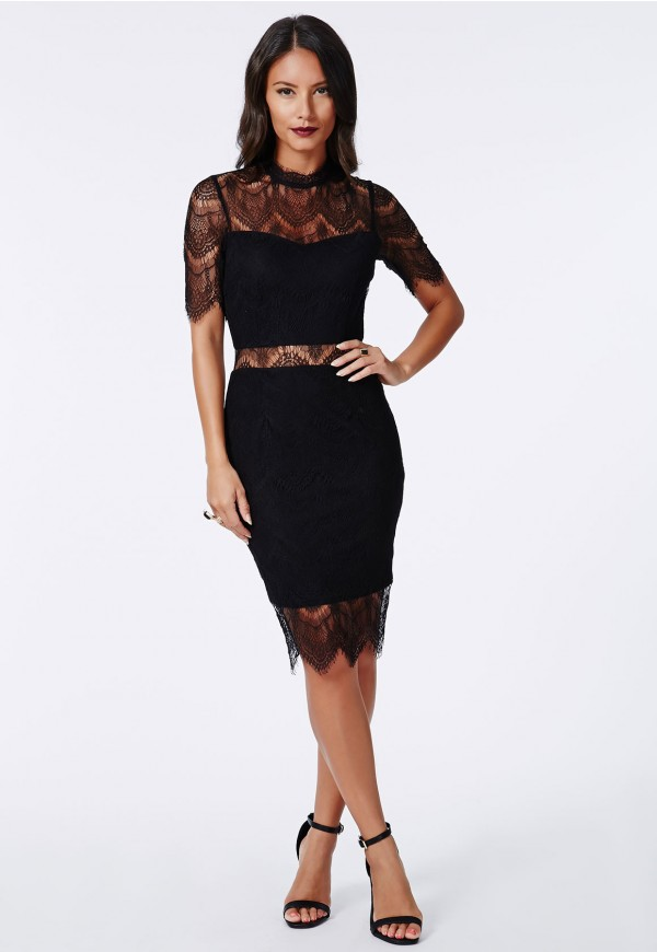 dress black bodycon dress lace dress