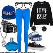 sweater,bleu,kenzo,vans,swag,shambala bracet,sweatshirt